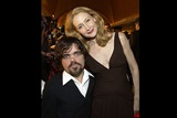 Presenter Patricia Clarkson poses with her Station Agent co-star Peter Dinklage.