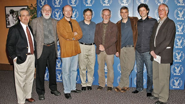 DGA National Executive Director Jay D. Roth, Meet the Nominees Symposium moderator Jeremy Kagan, 2005 Feature Film Nominees: Paul Haggis, Ang Lee, Steven Spielberg, George Clooney, Bennett Miller, and DGA President Michael Apted
