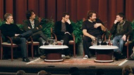 2007 Feature Film Nominees Tony Gilroy, Joel Coen, Ethan Coen, Julian Schnabel, and Paul Thomas Anderson onstage with moderator Jeremy Kagan during the 2008 Meet the Nominees: Feature Film Symposium