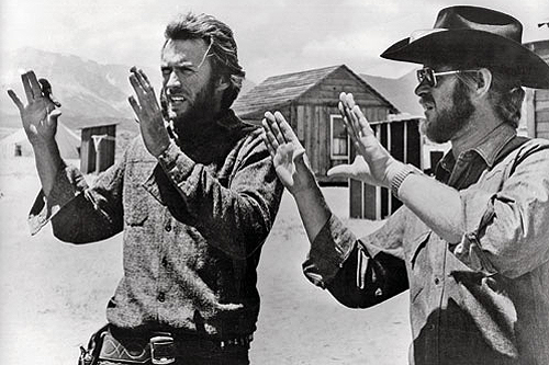 High Plains Drifter (1973): Eastwood sets up a shot with DP Bruce Surtees. - photo courtesy Hulton Archive.