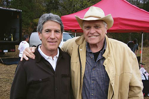Cleve Landsberg on a film set with actor Brian Dennehy.
